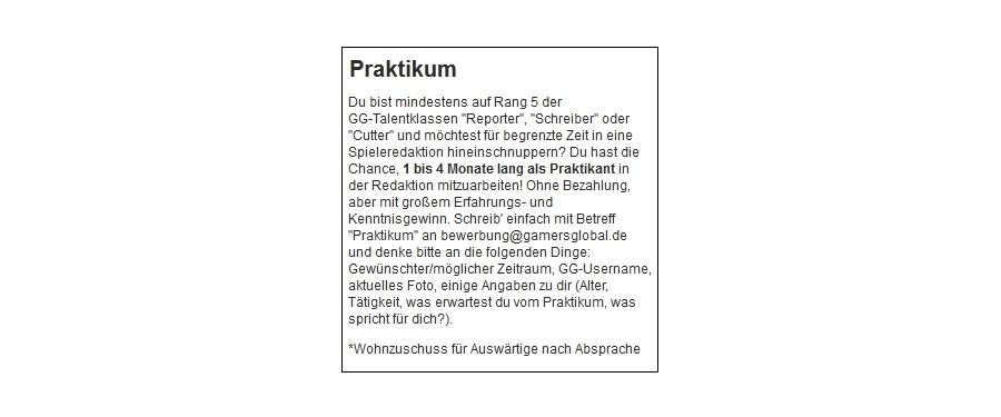 Gg-Intern: Ab 1.4. Wieder Praktikumsplatz Frei - News