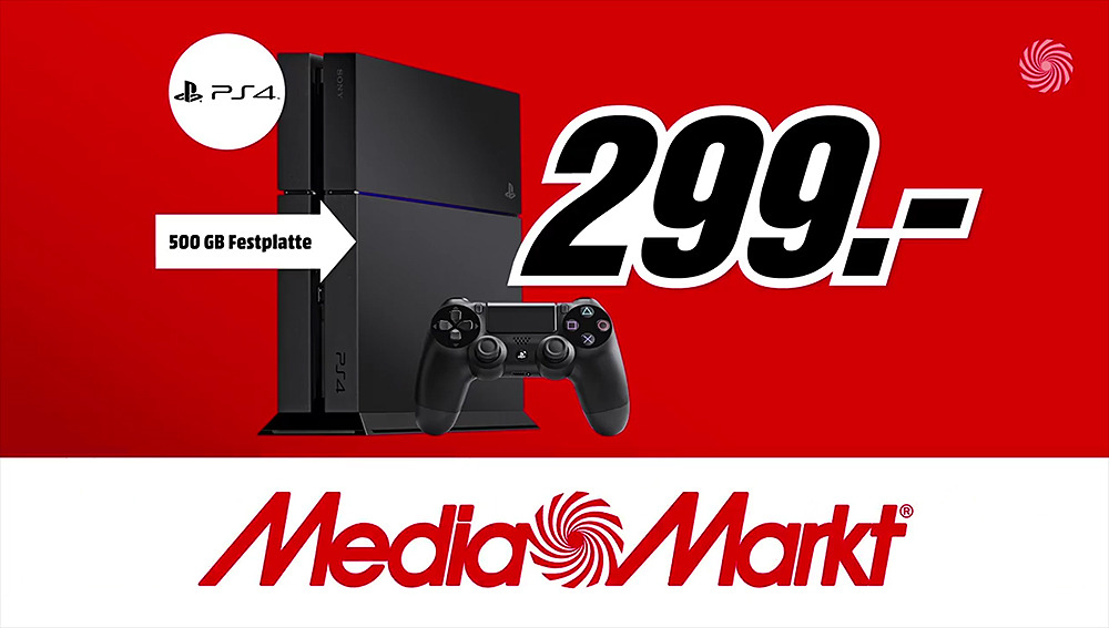 ps4 mit 500 gb festplatte f r 299 euro bei media markt im angebot news. Black Bedroom Furniture Sets. Home Design Ideas