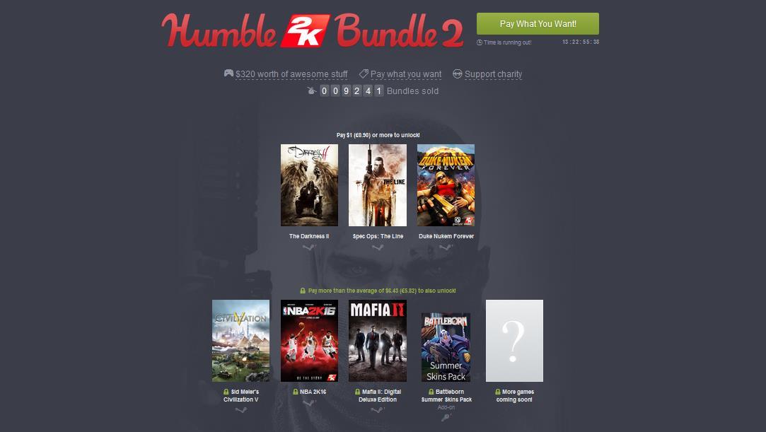 Humble Bundle Update: Humble 2K Bundle Mit NBA 2K16 Und Mafia 2 Gestartet