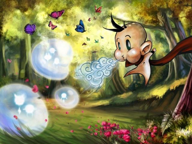 Seelenblasen bewegt euer Schamane durch Anpusten in die gewünschte Richtung.