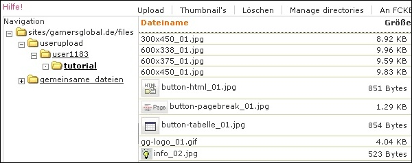 Screenshot des Dateibrowsers