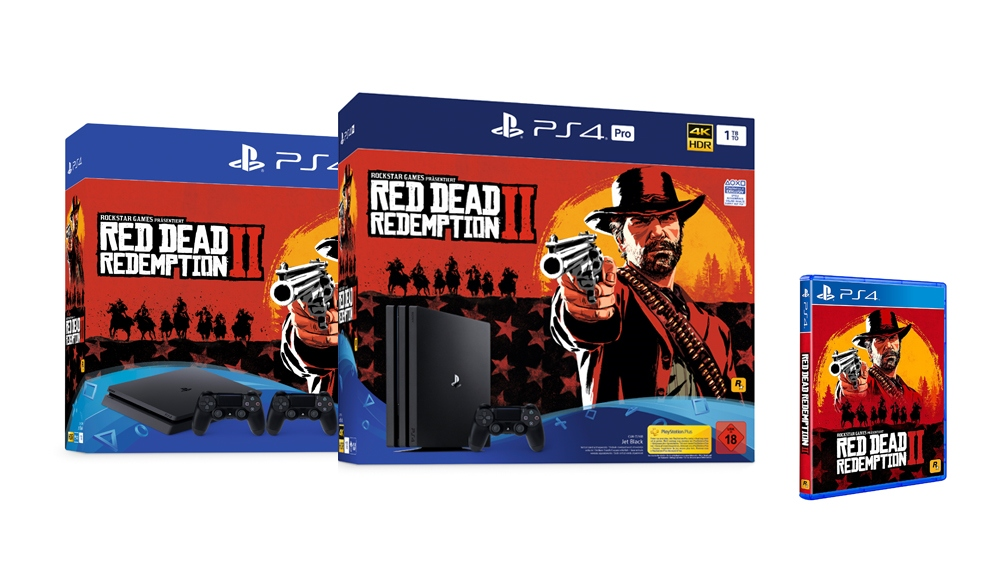 red dead redemption 2 ps4 und ps4 pro bundles. Black Bedroom Furniture Sets. Home Design Ideas