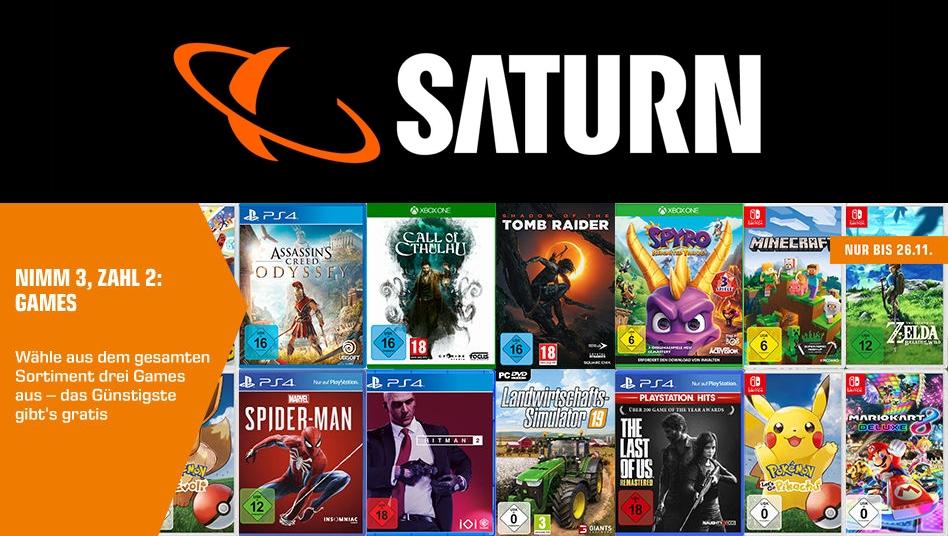 0fac898484 Saturn-Aktion: 3 Spiele zum Preis von 2 + Rabatte auf Konsolen-Bundles