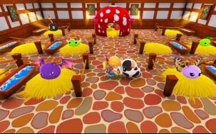 Farmtiere und Blobs im Stall des Spiels Ova Magika